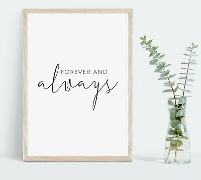 Forever And Always Typography Wall Print | Romantic Gift Bedroom Home Decor Art • 6£