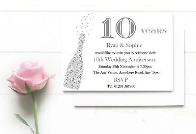 Personalised 10th Wedding Anniversary Invitations • 19.99£