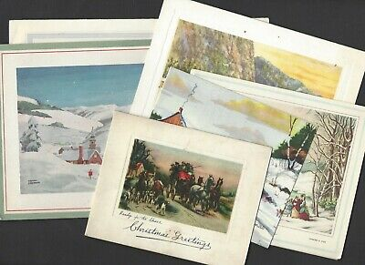 $ CDN2 • Buy 6 Vintage  Christmas Cards WINTER SCENES FROM PAINTINGS-Currier & Ives, Others