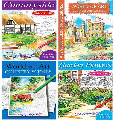 Adult Art Colour Therapy Colouring Book Books Anti-Stress WORLD OF ART Pencils • 3.49£
