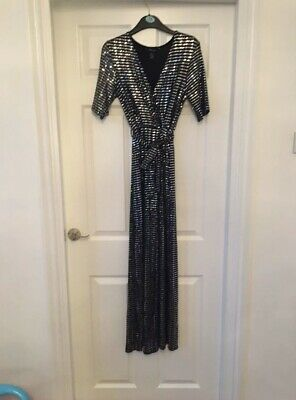 Silver Mirrored Sequin Wrap Jumpsuit Size 10 • 9.99£
