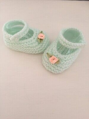 Hand Knitted Baby Shoes 0-3 Months Mary Jane Shoes,baby Booties  Mint Green • 1.99£