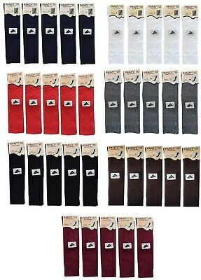 5 Kids Knee High School Girls Boys Plain Long  Socks Black White Grey All Sizes • 6.99£