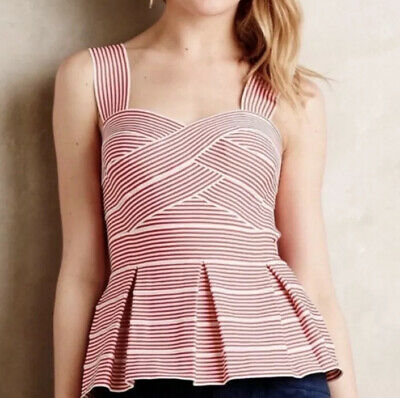 $ CDN66.28 • Buy Anthropologie XS Hd In Paris Sweetheart Red White Striped Peplum Fit Flare Top