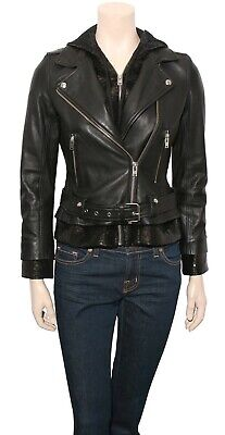 $ CDN460.49 • Buy IRO Leather Biker Jacket With Sequin Hood (Size 36)