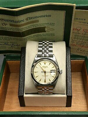 $ CDN5424.01 • Buy Vintage Rolex Date 1500 Original Silver Dial Stainless Steel Box Papers
