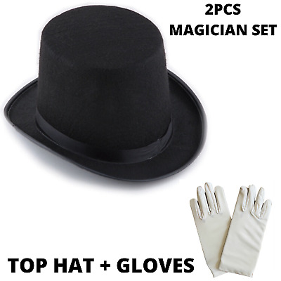 Magician Top Hat + Gloves Set Costume Party Dress Up Magic Halloween Ringmaster • 11.01£