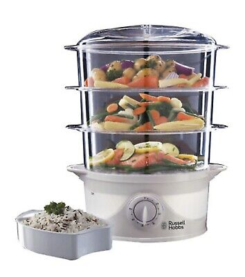 £28.99 • Buy Russell Hobbs 21140 3 Tier Electric Food Steamer Cooker White 9 Litre 800W NEW