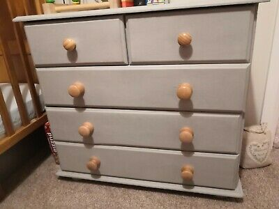Space Saving Solid Wood Chest Of Drawers - Grey Annie Sloan Painted • 28£