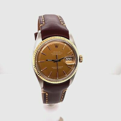 $ CDN5161.32 • Buy Vintage Rolex Datejust 1971 Tobacco Brown Dial W/ Rolex Service Papers & Box
