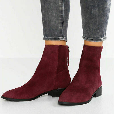 Ladies Ex Topshop Koko Burgundy Leather Suede Ankle Chelsea Boots Shoes Size 2-9 • 10.99£