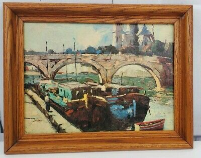 £11.32 • Buy Vintage Boat In Canal With Bridge Litho Textured Print 11.75  X 8.75  Framed