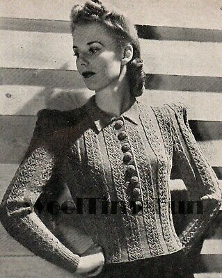 Knitting Pattern Vintage 1940s WW2 Cable Jumper.Long/Short Sleeves. 34-38  Bust. • 1.70£