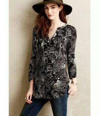 $ CDN12.90 • Buy ANTHROPOLOGIE MAEVE Bird Print Blouse Black Button-down, A$200, AS NEW, Small