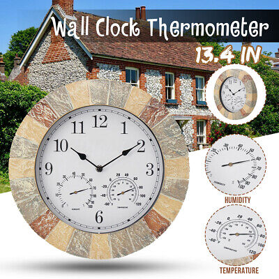 AU41.19 • Buy 34cm Wall Clock With Thermometer Hygrometer Home Display Outdoor Indoor  .