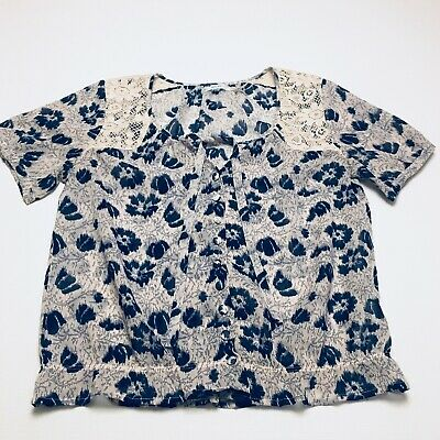 $ CDN17.22 • Buy Anthropologie Kimchi Blue Button Up Blouse Short Sleeves Top Women's Size Small