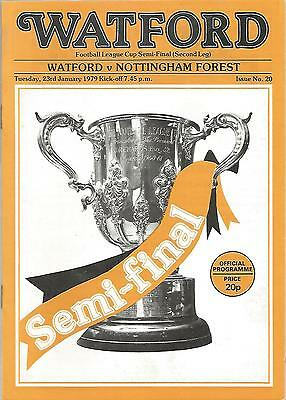 Football Programme - Watford V Nottingham Forest - League Cup Semi-Final - 1979 • 1£