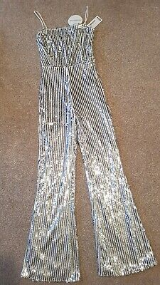 Boohoo Silver Sequined Jumpsuit Size 8 • 10£
