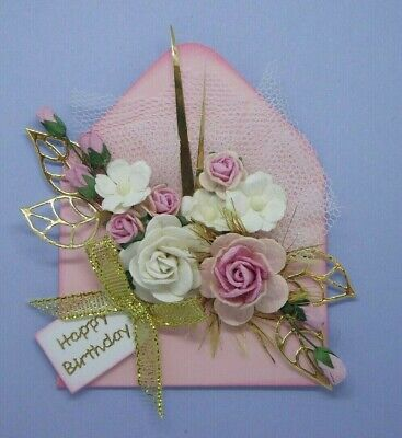 Pretty Pink+white Floral Rosebud Birthday Envelope 3d Card Toppers • 2.40£