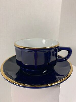 Dark Blue French Coffee Cup With Saucer • 8.47£