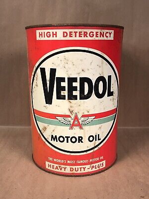 $ CDN126.35 • Buy RARE Vintage VEEDOL Motor Oil 5 Quart Can- Red Can With Green Stripe