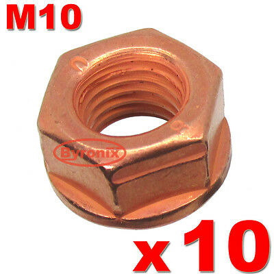 Exhaust Nuts For Ford M10 Manifold Flange Stud Nut Copper Locking 1005400 X 10 • 8.85£