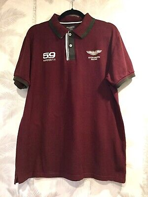 59 Hackett Aston Martin Racing Polo Shirt Burgundy Xxl • 22£