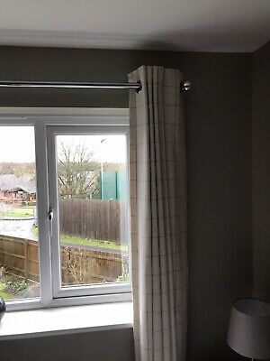Next Cream Check Lined Eyelet Curtains • 10£