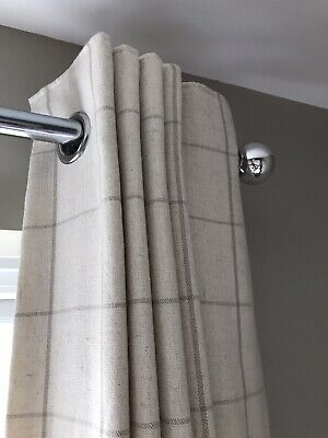 Next Cream Check Lined Eyelet Curtains • 7.40£