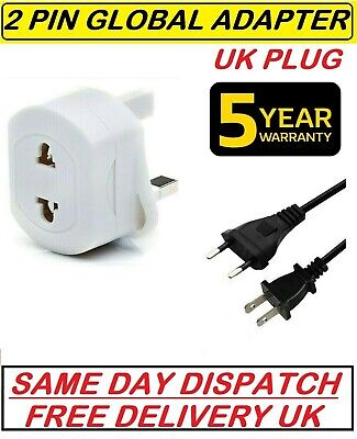 2-Pin To 3-Pin UK Shaver Adapter Plug Socket Converter EU European Euro Europe • 4.49£