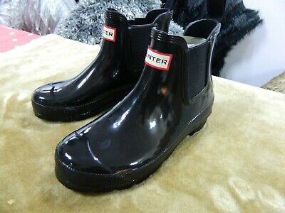 Hunters Short Wellington Boots Wellies Size 3 Black Gloss Bnwt • 59.99£