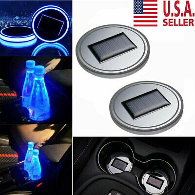 $11.99 • Buy 2PC Solar Cup Pad Car Accessories LED Light Cover Interior Decoration Lights US