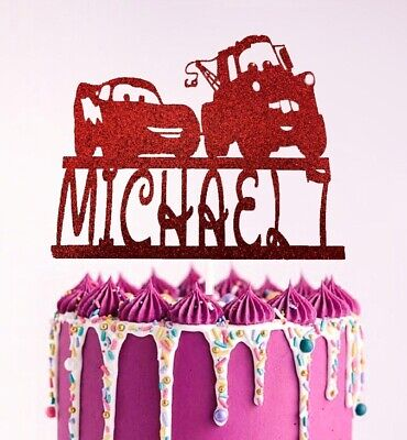 Cars Lightning McQueen Personalised Glitter Birthday Cake Topper Disney  • 4.99£