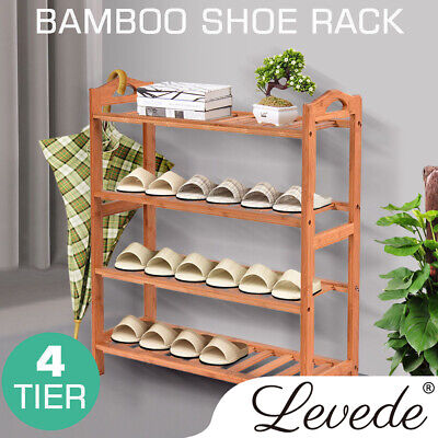 AU27.99 • Buy Levede 4 Tiers Bamboo Shoe Rack Storage Organizer Wooden Shelf Stand Shelves