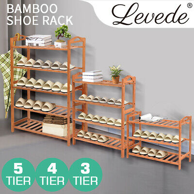 AU21.99 • Buy 3 4 5 Tiers Bamboo Shoe Rack Storage Organizer Wooden Shelf Stand Shelves