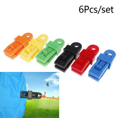 6X Selling Tents Awning Wind Rope Clamp Awnings Outdoor Camping Plastic Clip ~! • 3.33£