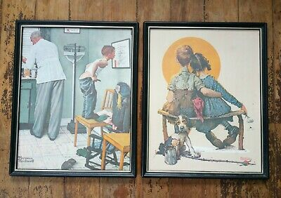 $ CDN20.12 • Buy Norman Rockwell 12 X 15 Prints Framed Boy &  Girl At The Beach & At The Doctor
