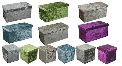 New Quilted Top Folding Storage Ottoman Seat Toy Storage Box Crushed Velvet  • 14.95£