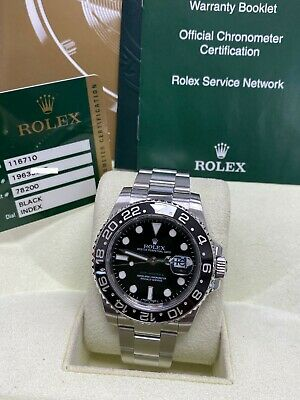 $ CDN14544.27 • Buy Rolex GMT Master II 116710LN Black Ceramic Stainless Steel Box Papers 2011
