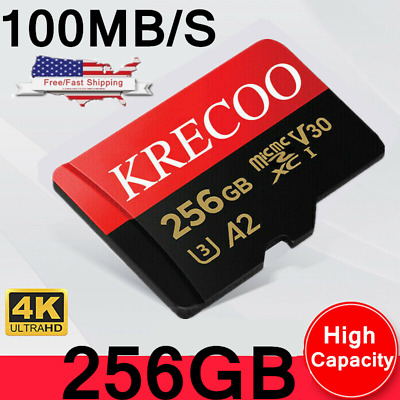 $8.36 • Buy KRECOO Micro Memory Card 256GB 108MB/S Class10 Fast Flash TF Card With Adapter