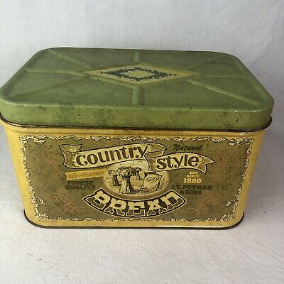 $29 • Buy Vintage Cheinco Bread Box Metal Country Style Graphic Farm House Tin Advertising