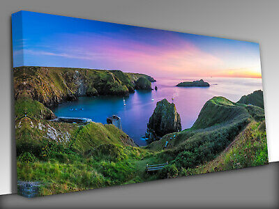 £39 • Buy Mullion Cove In Cornwall Uk   Panoramic Canvas Wall Art Picture Print