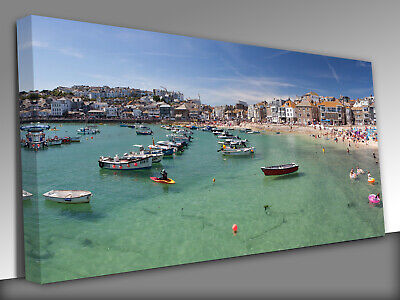 £19 • Buy St Ives Harbour, Cornwall UK Panoramic Canvas Wall Art Picture Print