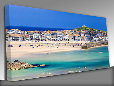 £19 • Buy St Ives Beach Cornwall Panoramic Canvas Wall Art Picture Print