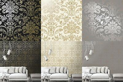 Holden Glistening Damask Wallpaper Grey Charcoal Cream Rose Gold Metallic • 12.99£