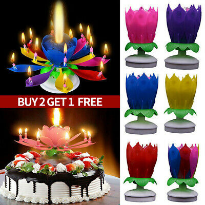 $ CDN3.34 • Buy Candle Rotating Birthday Musical Lotus Flower Cake Candles Happy Light Small