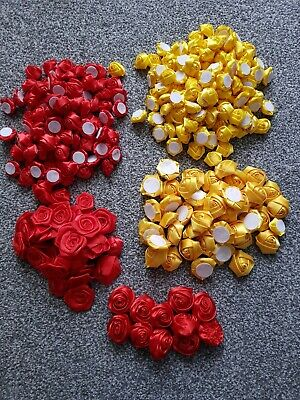 £18 • Buy Bundle Satin Rolled Roses Flowers Red/yellow Dress Making Crafts Tutu Tulle Card