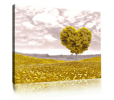 £11.49 • Buy Yellow / Mustard Love Heart Tree Landscape Canvas Wall Art Picture Print