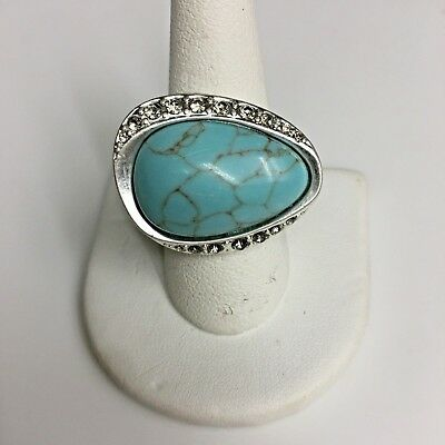 $ CDN20.37 • Buy LIA SOPHIA  RIVER ROCK  RING - GENUINE TURQUOISE Matte Silver Size: 6 7 8 9 NEW