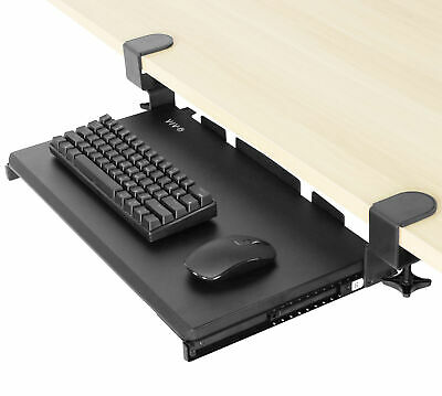 $33.99 • Buy Used VIVO Black Small Clamp-on Computer Keyboard & Mouse Under Desk Slider Tray